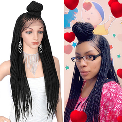 Kaylss 30 дюймов 13x7 плетеные парики синтетические кружева спереди парик Updo плетеные парики с детскими волосами для черных женщин корнроу Плете...