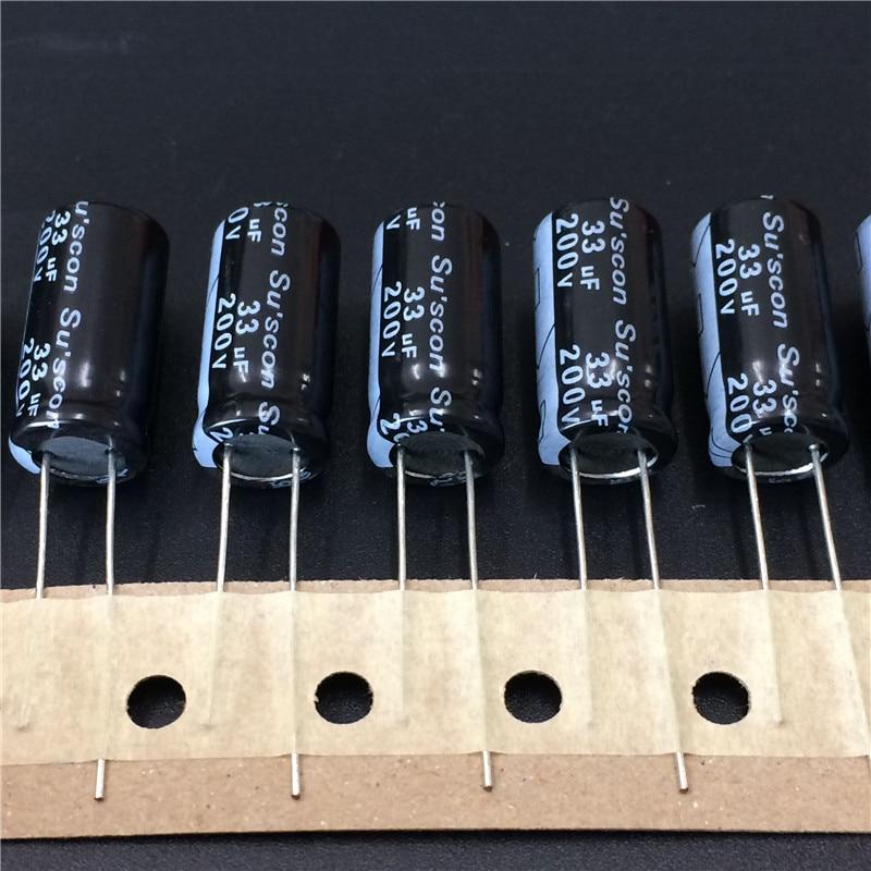 10 шт. 33 мкФ 200 в Su'scon MK серии 10x20 мм 200V33uF высококачественный алюминиевый электролитический конденсатор