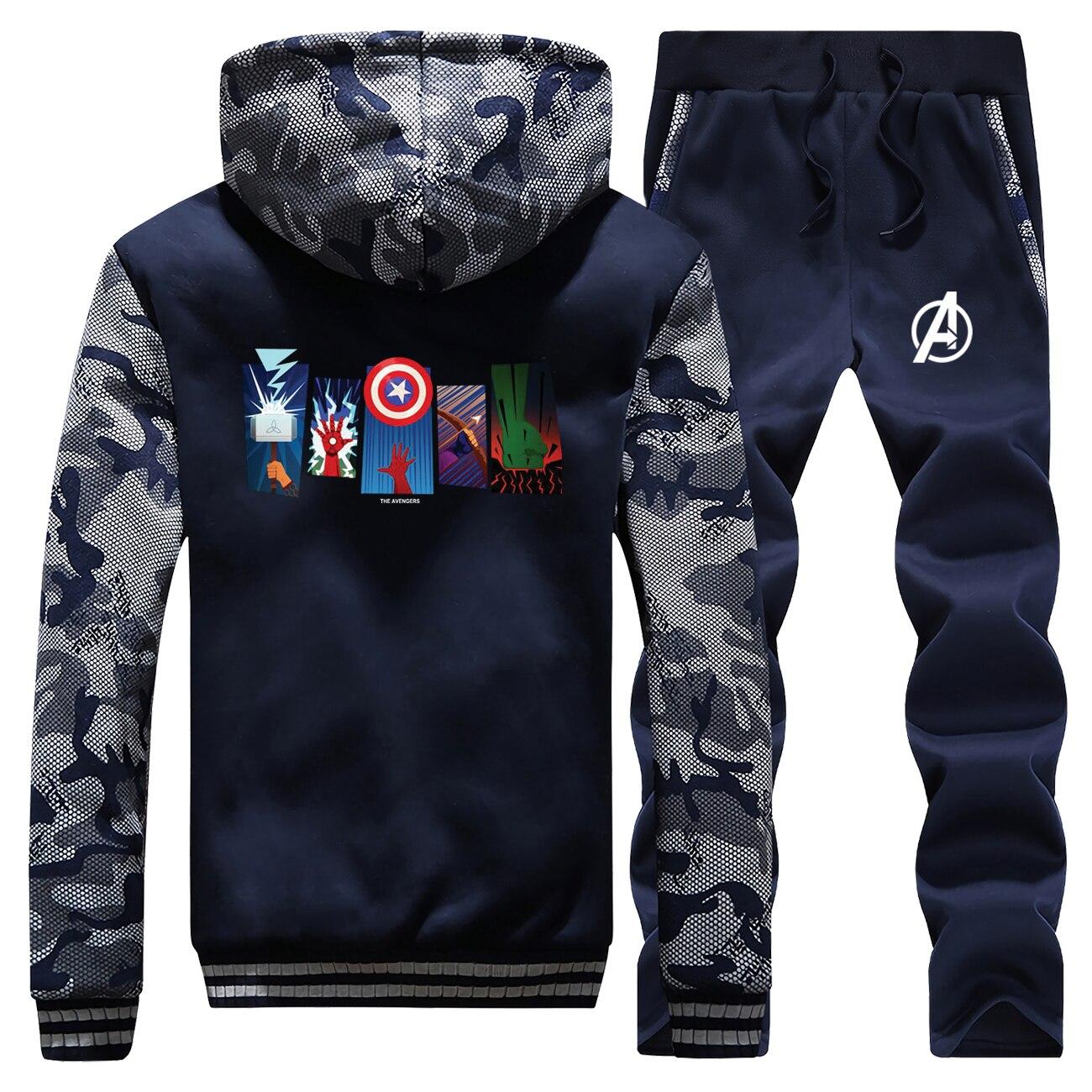 The Avengers Hot Sale Winter 2019 Hoodies Mens Camouflage Sweatshirts Suit Warm Jacket Long Sleeve Coat Thick+Pants 2 Piece Set