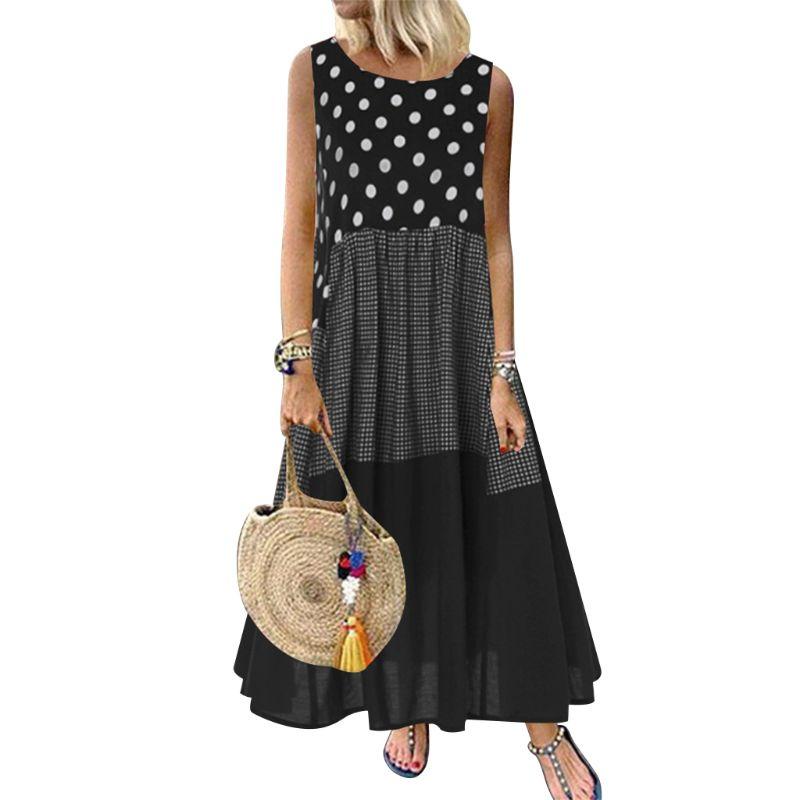 2019 женское платье в горошек, в клетку Хлопок Лен с рисунком платье без рукавов с круглым вырезом свободное Макси платье