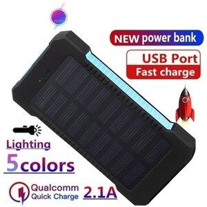 Banco de potência solor 30000mah powerbank bateria externa móvel portátil carregador rápido display digital para todos os smartphones power bank