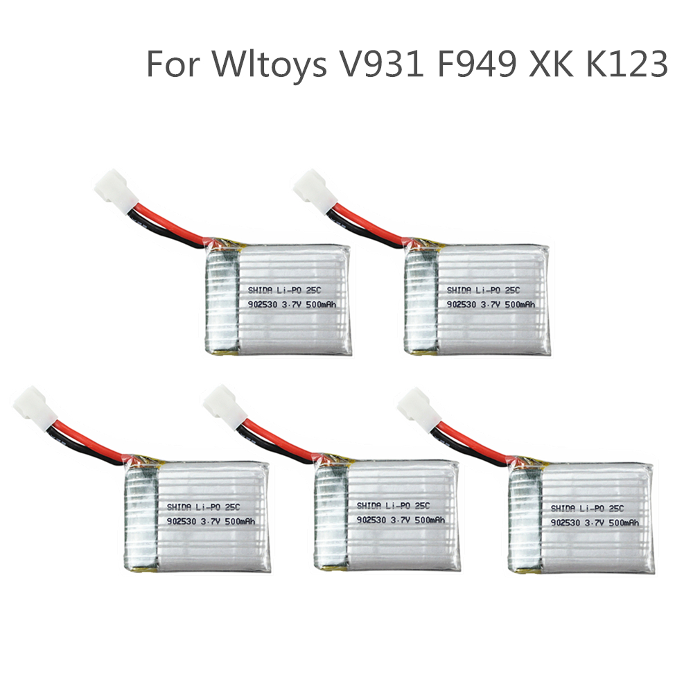 4/5pcs <font><b>3.7V</b></font> <font><b>500mAh</b></font> 902530 25C <font><b>LiPo</b></font> <font><b>Battery</b></font> For Wltoys V931 F949 XK K123 6Ch RC Helicopter image