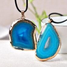 Naturalny agat tabletki wisiorek kolorowy kamień uzdrawianie kwarcem rudy kamienia mineralnego dla kobiet mężczyzn biżuteria moda pamiątka 1PC