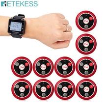 Retekess T128レストランポケットベルワイヤレスウェイター通話システムの時計受信機 + 10個T117ボタンカフェクリニック歯科医