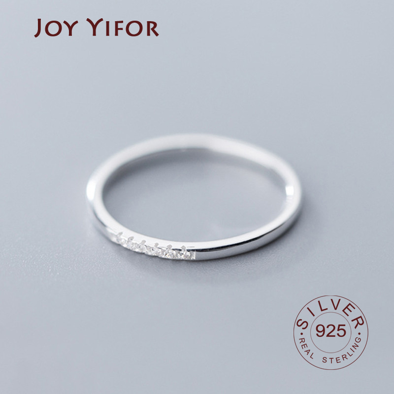 Real 925 Sterling Silver Zircon Round Geometric Ring For Fashion Women Cute Fine Jewelry 2019 Minimalist Accessories Gift