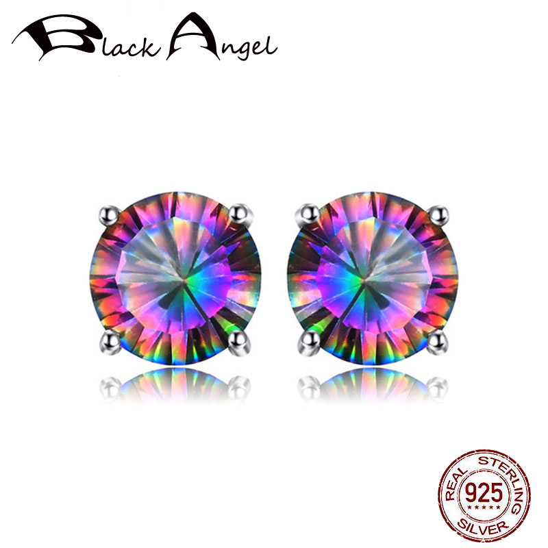 Preto anjo genuíno arco-íris mystic topázio brincos 925 brincos de prata esterlina para as mulheres brincos de pedra preciosa moda jóias