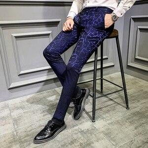 Image 2 - Мужские классические брюки, повседневные облегающие брюки с парфюмом для офиса, осень 2019