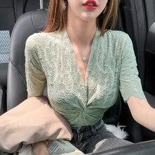 Women Cross Criss V-neck Lace Blouses Shirts Female Short Sl