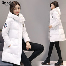 2019 Winter women Jackets Long Warm Thicken Cotton Padded hooded Down Parkas Female Top snow wear Clothing Coat zippers solid button slim spray-bonded wadding plus size цены онлайн