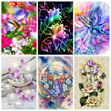 DIY 5D Diamond Painting Flower Poppy Cross Stitch Landscape Diamond Embroidery Full Round Drill Rhinestones Art Decor Home Gift diapai 100% full square round drill 5d diy diamond painting flower landscape diamond embroidery cross stitch 3d decor a21095