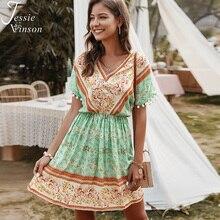 제시 Vinson Boho 인쇄 짧은 해변 드레스 여성 여름 짧은 소매 v 목 미니 드레스 보헤미안 Pom Pom 볼 ZA 드레스 2020