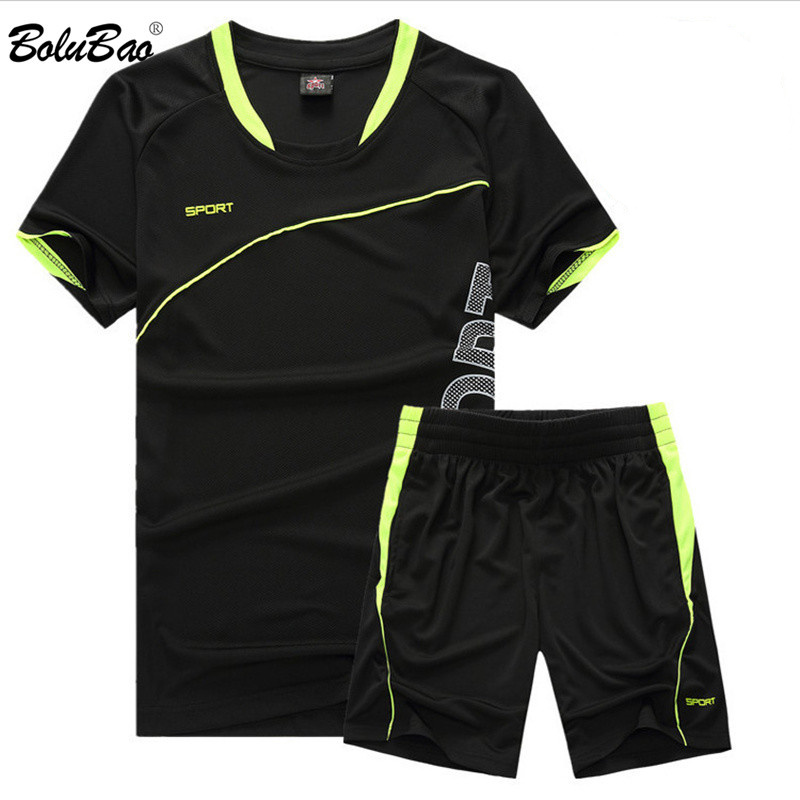 BOLUBAO Brand Summer Men Sports Sets Men's Quick-Drying T-Shirts + Shorts Suit Thin Short-Sleeve T Shirt Shorts Tracksuits Male
