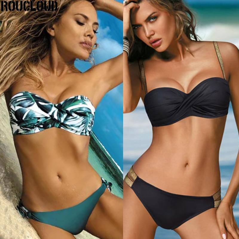 2020 Sexy Color sólido Bikini mujeres traje de baño Bandeau Biquini traje de baño femenino traje de baño Push Up Bikini Set ropa de playa