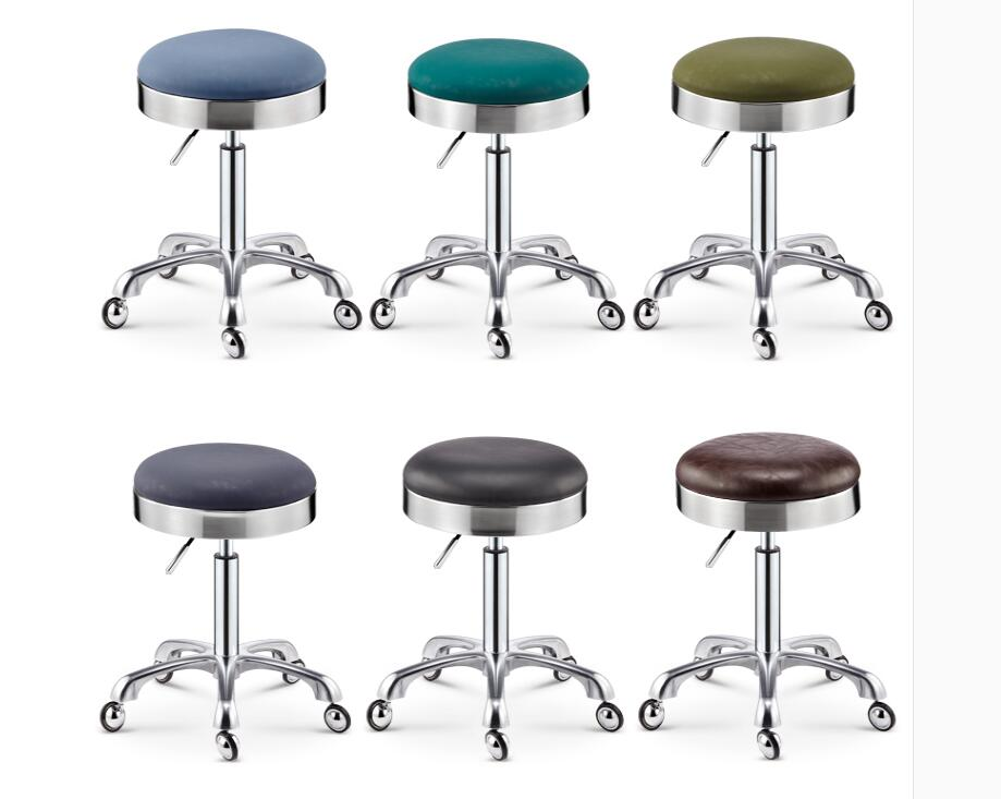Hairdresser Stool Stainless Steel Rotating Lift Pulley Beauty Stool Work Bench Makeup Hair Salon Nail Stool