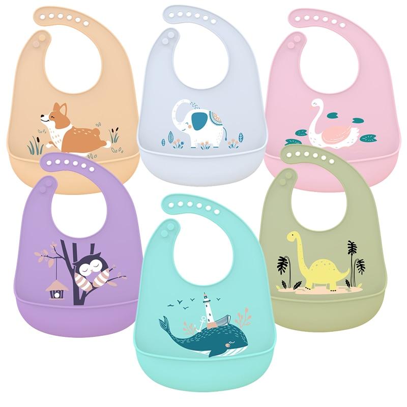 1pc Food Grade Silicone Bibs BABY Feeding Saliva Towel Oil-proof Adjustable Burp Cloths Bandana Cartoon Waterproof Aprons