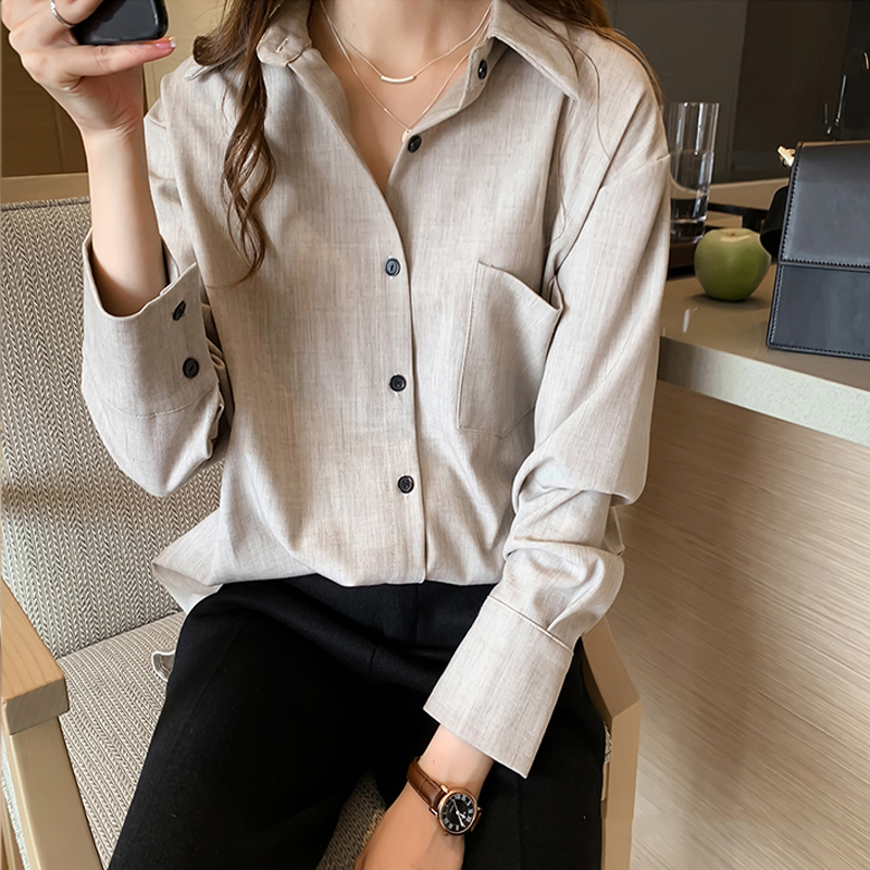 New Arrival Women Solid Gray Blouse Batwing  Long Sleeve Pockets Oversize Shirt Turn-Down Collar Top Blusa Femenina T99201F