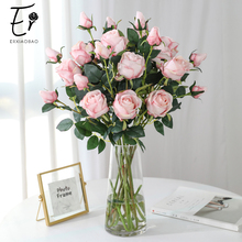 Erxiaobao 66 cm 2 Heads Silk White Pin Red Blue Green Artificial Flowers Rose Fake Fall Decorations for Home Wedding