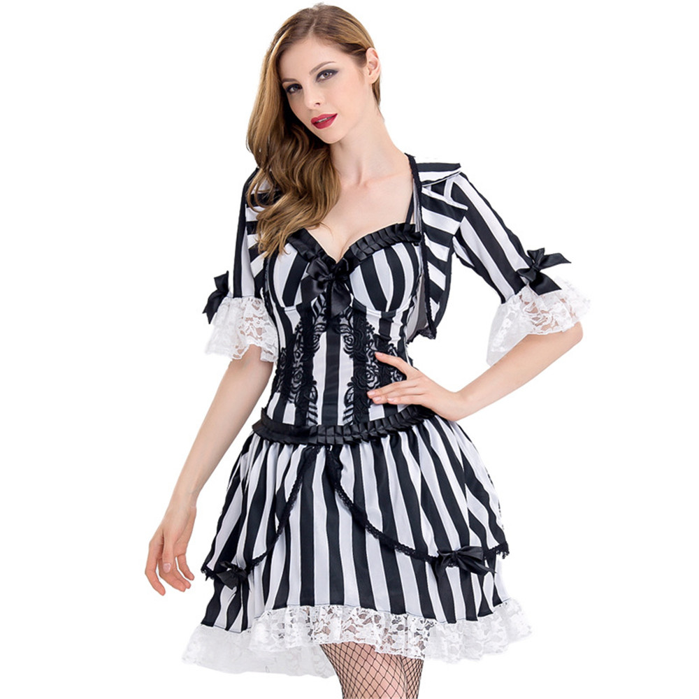 Beetlejuice Costume Adult Female Halloween Fancy Dress