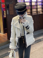 Heavy crafts fur all in one faux fur jacket women winter thick warm fur liner motorcycle jacket fashion wild tops
