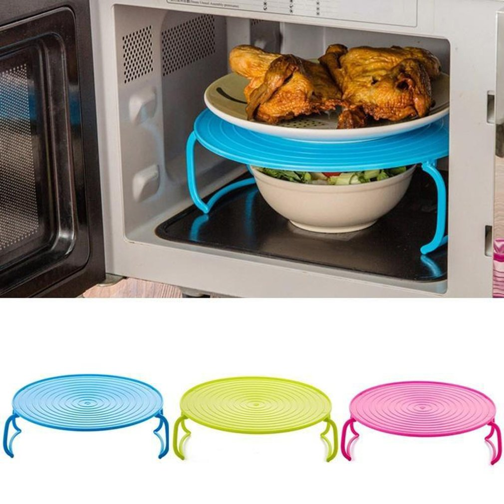 Multi-function Microwave Oven Heating Layered Steamer Tray Rack Double-layer Insulation Tray Rack Pot Mat