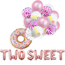 2nd Birthday Party Decoration Rose Gold Two Sweet Donut Foil Balloon Latex Balloon Baby Shower Second Birthday Supplies For Kids