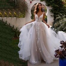 LORIE A Line свадебное платье 3D цветы спагетти ремень невесты платье с открытой спиной принцесса длинное Бохо длина пола свадебное платье