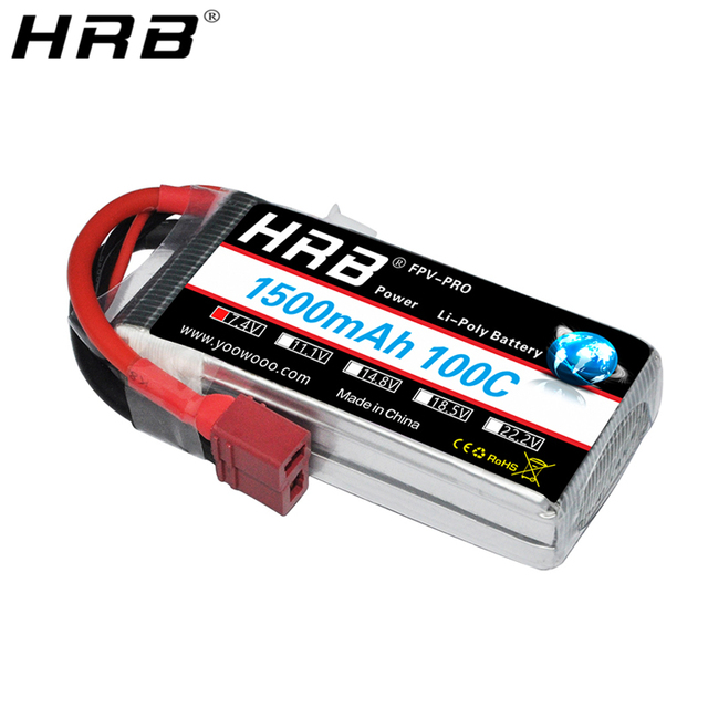 HRB 2S Lipo Batteria 1500mah 7.4V XT60 T Deans EC2 EC3 EC5 XT90 Femmina RC Parti di 100C per FPV Drone Aereo Da Corsa Auto Barca Camion