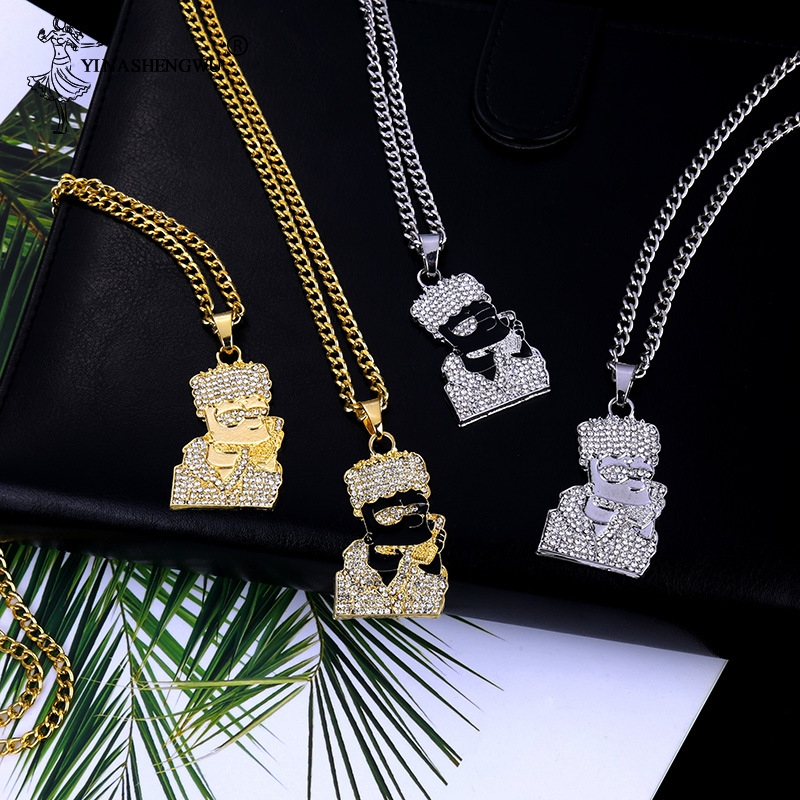 New Simple Simpson Necklace Hip Hop Gold Color Rock Wholesale Necklaces & Pandents Fashion Bling Cuban Link Chain Men Jewelry image