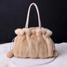 2021 Autumn And Winter Mink Fur Fur Bag Large Capacity Large Bag Single-shoulder Mink Ball Pumping Strap Female Bag