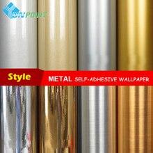 金属効果壁紙自己接着ミラーシルバー起毛ゴールド防水ステッカー冷蔵庫歳電気 Diy 装飾フィルム