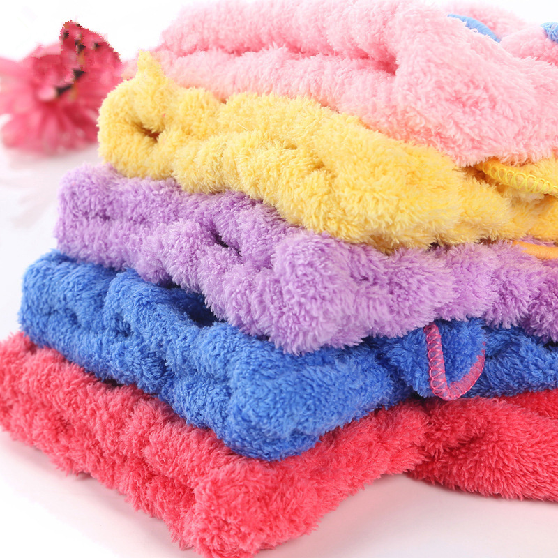 5 Color Colorful Bath Towel Cap With Microfiber Solid Fabric For Ladies 3