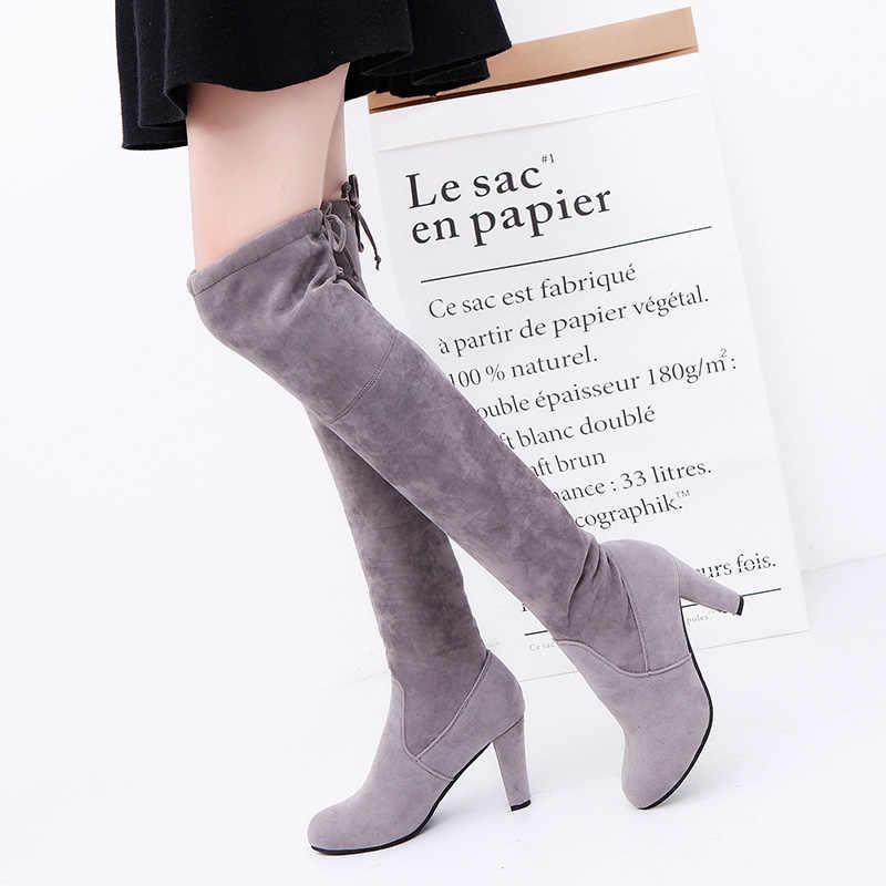Slim ผู้หญิงต้นขาสูงบู๊ทส์รอบ Toe ผู้หญิงรองเท้า Faux Suede เซ็กซี่รองเท้าส้นสูงกว่าเข่ารองเท้าผู้หญิงรองเท้าฤดูหนาวสีดำ