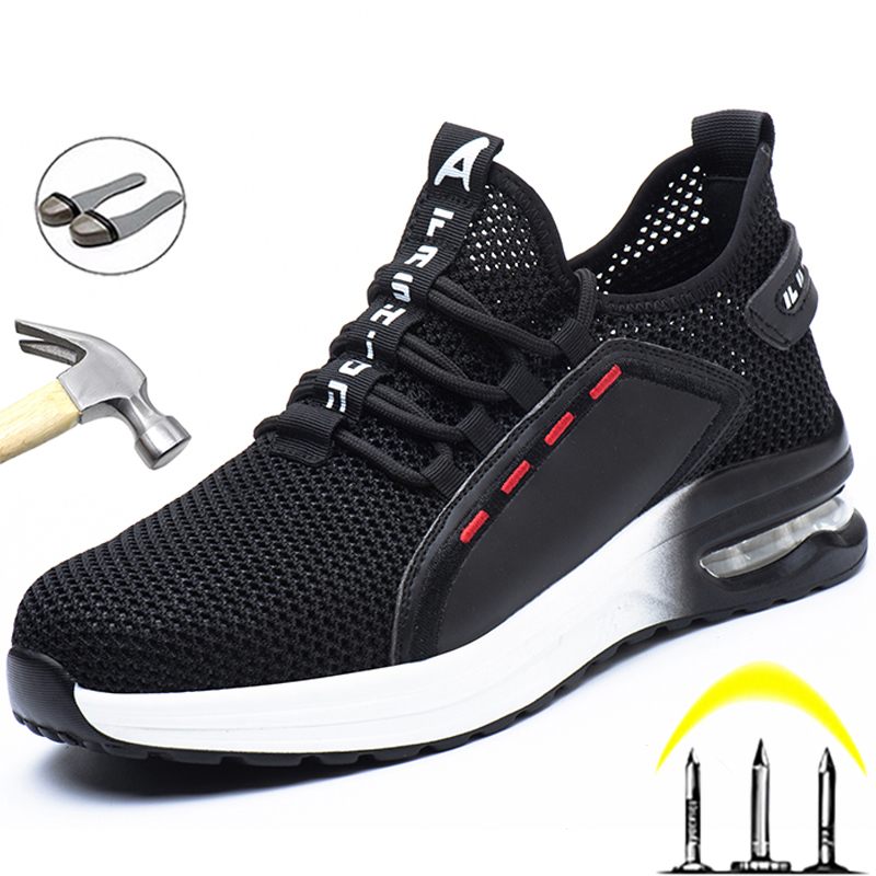 Breathable Men Work Safety Shoes Anti-smashing Steel Toe Cap Working Boots Construction Indestructible Work Sneakers Men Shoes 2