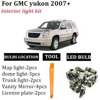 13 bombillas de luz LED para Interior de coche para GMC yukon 2007-2014, accesorios para lámpara de espejo de tocador de cúpula canbus