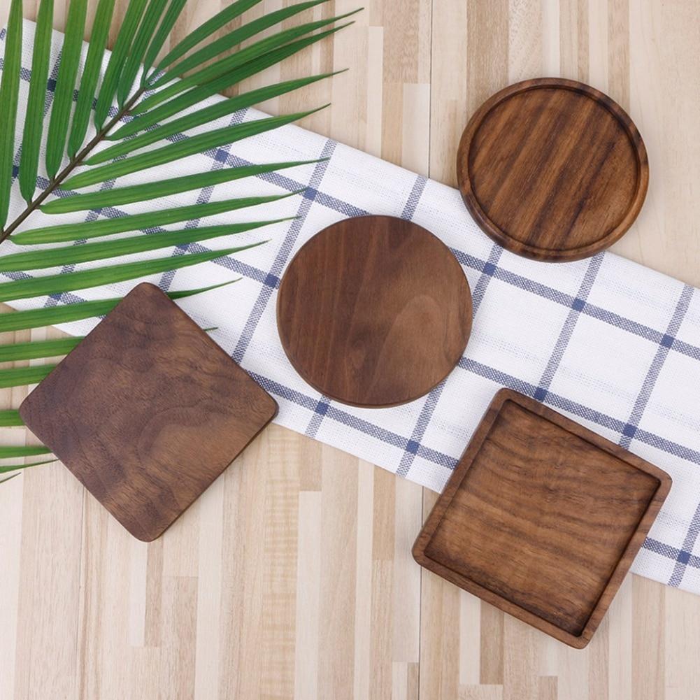 1PC Beech Black Walnut Wood Coaster Retro Insulation Cup Mat Household Square Round Coaster 2019