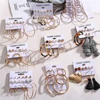 Oversize zestaw kolczyków w kształcie obręczy złoty kolor okrągły koło damskie kolczyki DIY 2020 Brincos komunikat biżuteria tanie i dobre opinie CN (pochodzenie) Ze stopu cynku Kobiety Hoop kolczyki TRENDY ROUND Metal Hoop Earrings Moda Zinc Alloy Women Female High Quality