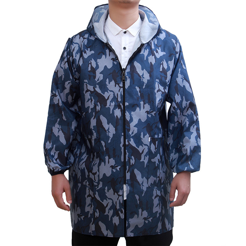 Adult Overclothes Work Clothes Long-sleeve Zipper Apron Men Household Waterproof Oil Resistant Handling Unlined Long Gown Protec