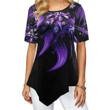 Women Colorful Print Irregular Hem Shirt Round Neck 2020 Summer New Casual Short