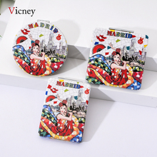 Vicney Portable Foldable Pocket Makeup Mirror Woman Fashion Dancing Girl Creative Compact Mirror Double Sides Magnifying Mirror relefree double dancing mat double dance pads fashion foldable with handle controller tf card dancing machine fitness