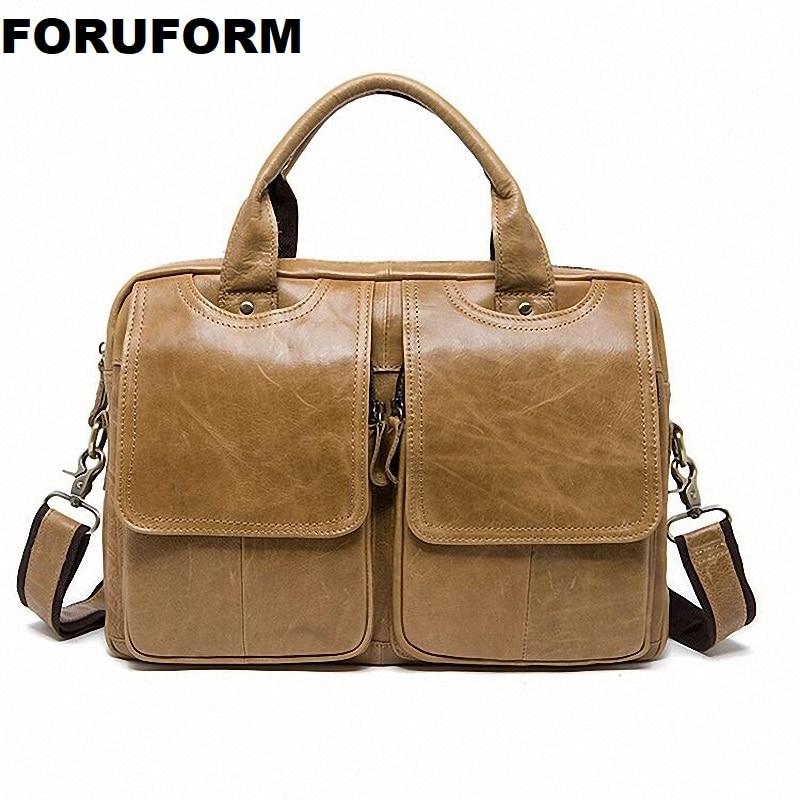 Men Briefcase Bag High Quality Business Genuine Leather Shoulder Messenger Bags Office Handbag 14 Inch Laptop Handbags ZH-237