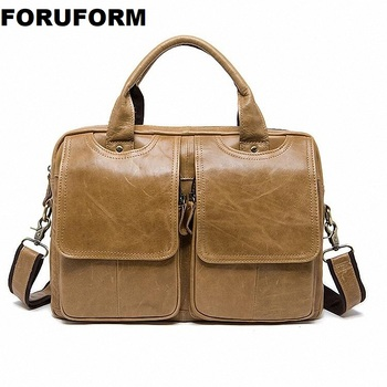 Men Briefcase Bag High Quality Business Genuine Leather Shoulder Messenger Bags Office Handbag 14 inch Laptop Handbags ZH-237