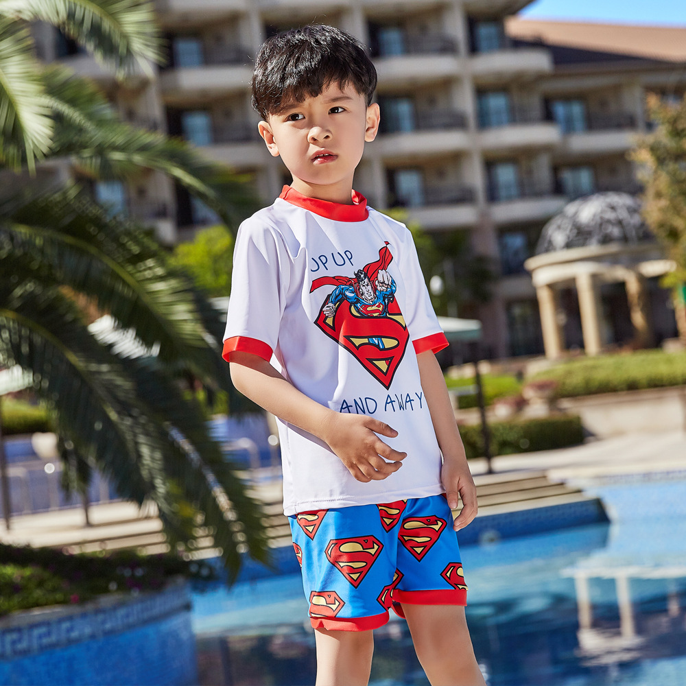 2019 Children Split Type Swimsuit Male Baby Bubble Hot Spring Swimsuit For Boys Handsome Cute Superman Olive Flower 1044