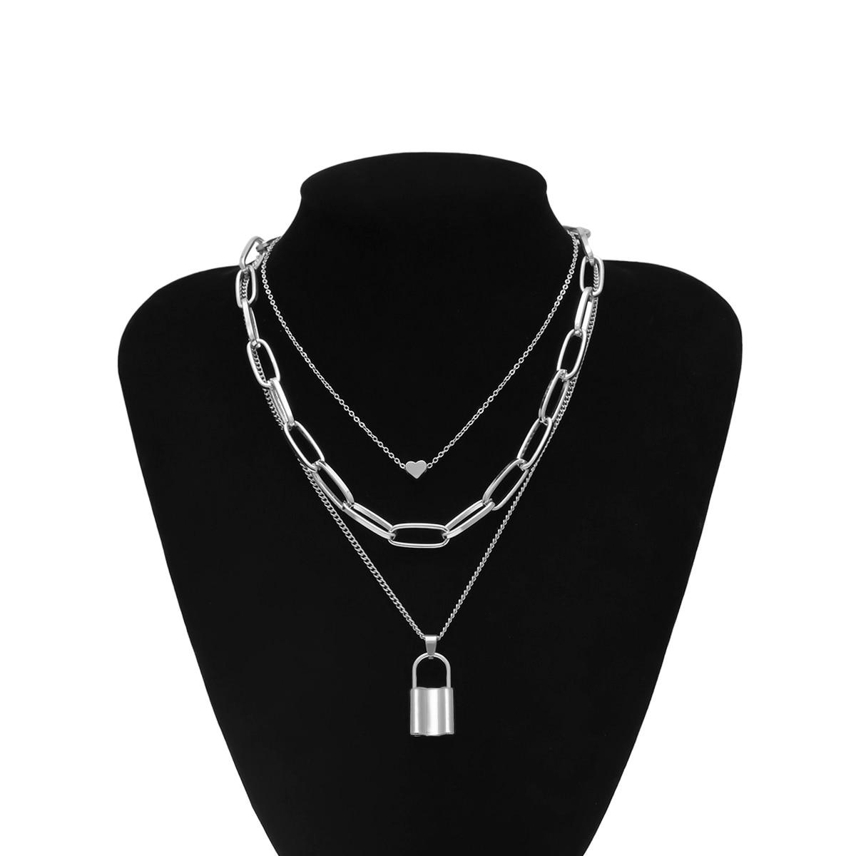 Ingemark, многослойная подвеска с замком для влюбленных, колье, ожерелье с замком в стиле стимпанк, цепочка с сердцем, колье, лучшее ювелирное изделие для пары, подарок - Окраска металла: Silver Color