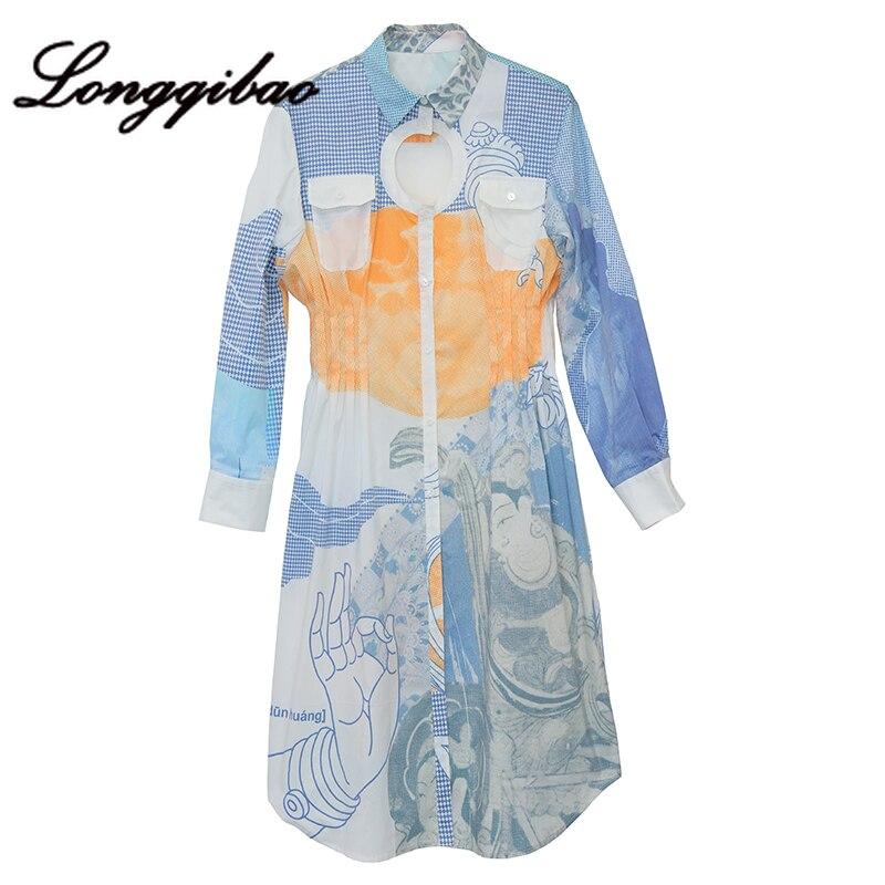 Longqibao frauen Neue Mode Lange ärmeln Gedruckt Geometrische Runde Hohl Plissee Taille Kleid frauen Kleidung Weihnachten Kleid - 5