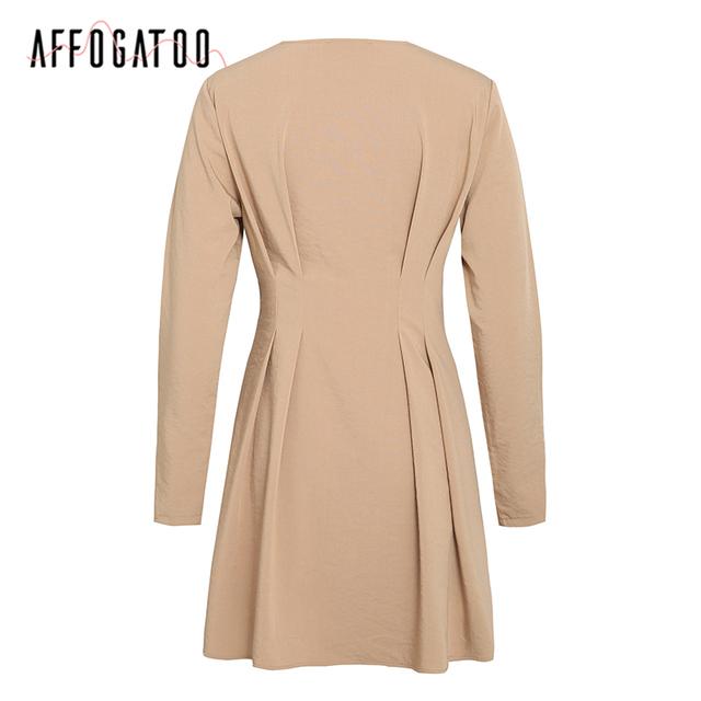 Elegant V-neck solid autumn dress women