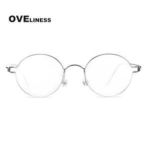 Image 2 - チタンネジなし眼鏡処方レトロ眼鏡フレーム女性ラウンド近視光学韓国眼鏡メガネフレーム男性