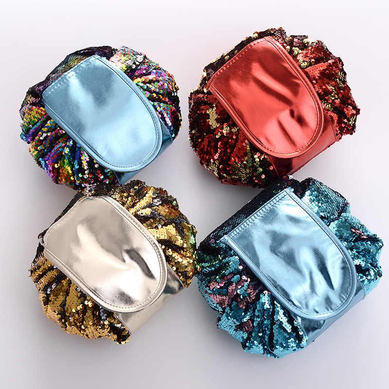 Putri Duyung Baru Payet Tas Make Up Pouch Glitter Payet Tas Kosmetik Serut Shrink Penyimpanan Paket Perjalanan Portabel Mencuci Perlengkapan Mandi