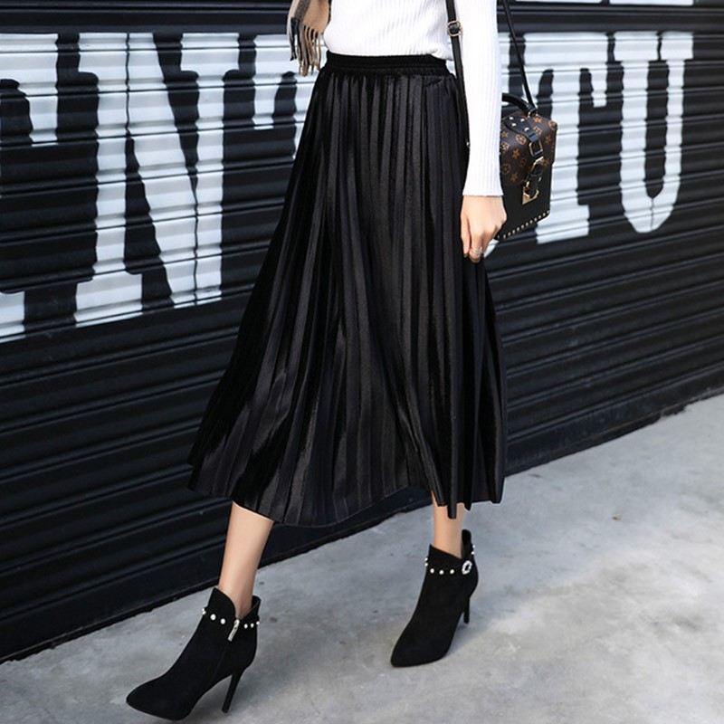 Long Velvet Pleated Women's Skirt Autumn Winter Harajuku High Waist Black Skirts Womens 2019 Silver Sexy Casual Party Maxi Skirt