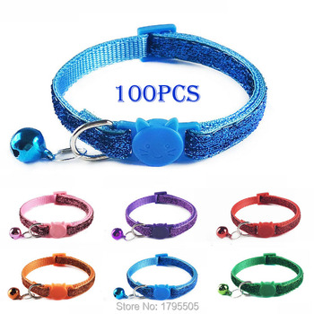100pcs Soft Colorful Pet Dog Collar with bell for Small  Dogs cat Neck Strap Adjustable Safe Puppy Cats Leash harness bling new