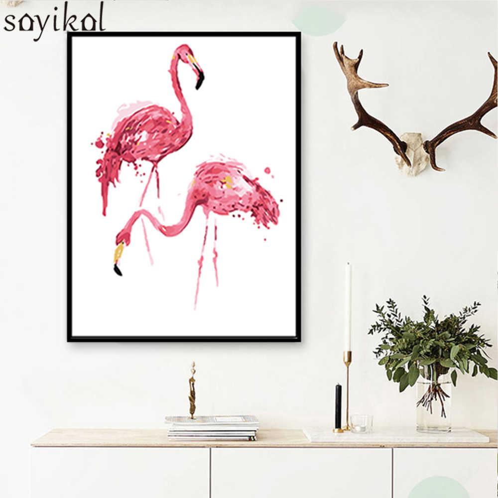 DIY بها بنفسك النفط الطلاء بواسطة أرقام فلامنغو الوردي رسمت باليد قماش جدار صورة الفن الحيوان الحديثة دهان داي الزفاف الديكور الفن